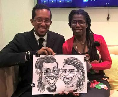 Black couple caricaturist