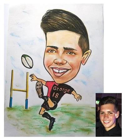 caricaturist draws Boy playing Rugby