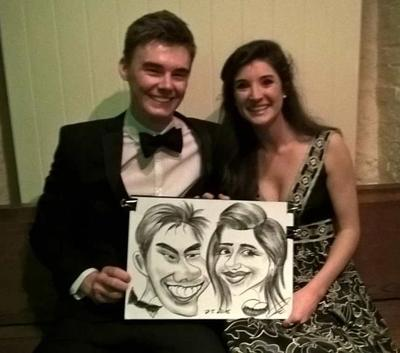Caricature artist at students ball
