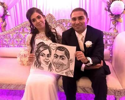 Wedding Caricature of  bride and groom