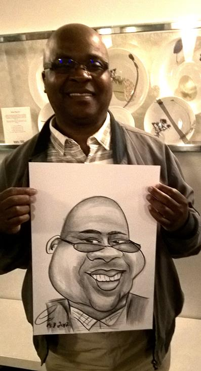 Caricaturist Black man with glasses