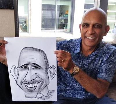 Caricaturist drawing bald