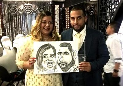 Caricaturist at Indian wedding