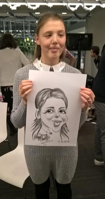 Caricaturist draw Smiling girl