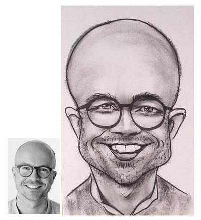 Caricaturist drawn Dave from photograph