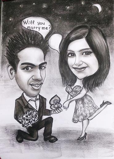 Engagement drawing by Alex caricaturist