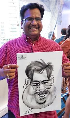Fat face caricature drawing