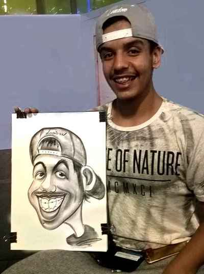 Caricature artist Guy with braces
