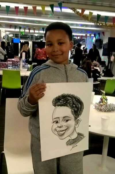 Caricaturist at Party boy cartoon