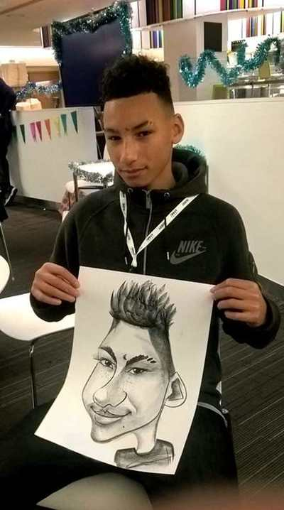 Caricaturist drawn Serious boy