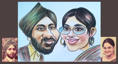 Sikh couple wedding caricature from photo